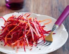 Grated Carrot and Raw Beet Salad