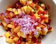 Skillet Black Beans with Peach Salsa