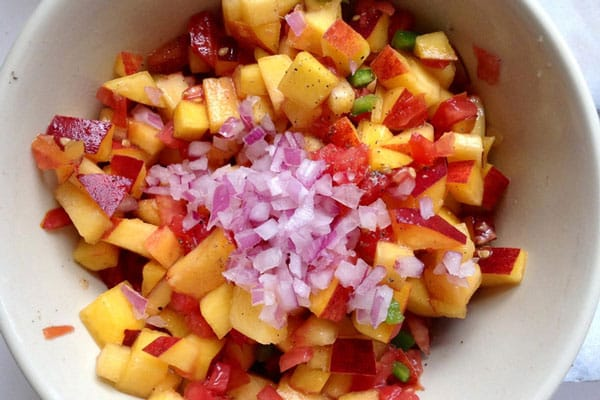 Skillet Black Beans with Peach Salsa