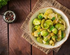 Roasted Brussels Sprouts with Leeks & Apples
